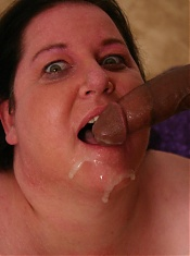 Cock hungry bbw Sassy slobbering a stiff dick and gets cum glazing all over her chubby mug